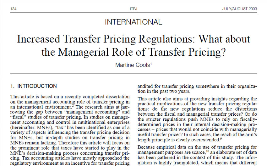Increased Transfer Pricing Regulations: What about the Managerial Role of Transfer Pricing?