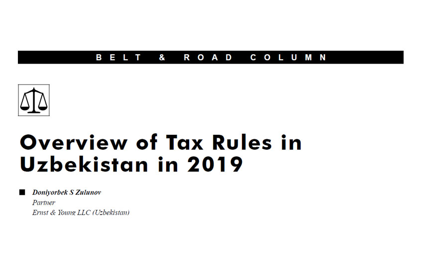 Overview of Tax Rules in Uzbekistan in 2019