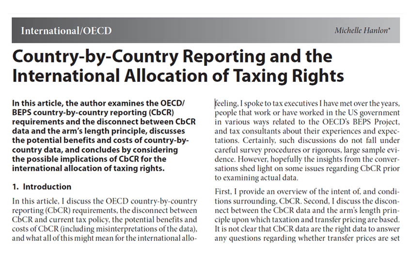 Country-by-Country Reporting and the International Allocation of Taxing Rights