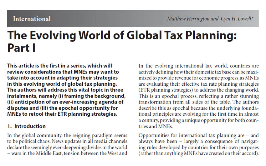 The Evolving World of Global Tax Planning: Part I