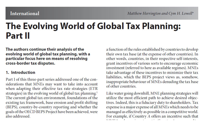 The Evolving World of Global Tax Planning: Part II