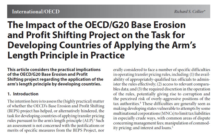 The Impact of the OECD/G20 Base Erosion and Profit Shifting Project on the Task for Developing Countries of Applying the Arm's Length Principle in Practice