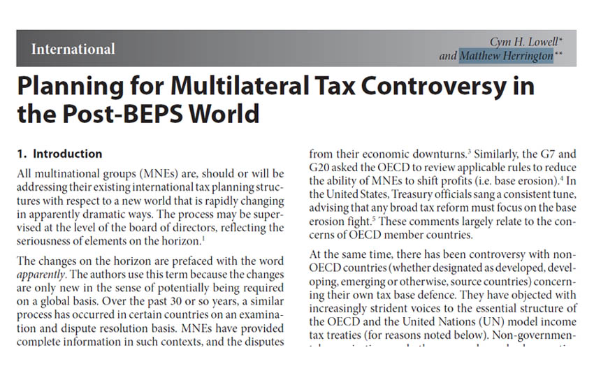 Planning for Multilateral Tax Controversy in the Post-BEPS World