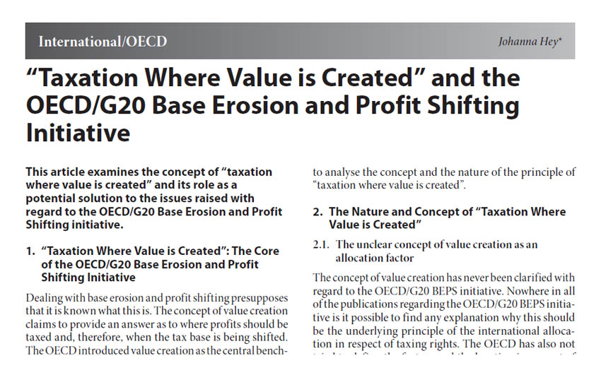"""Taxation Where Value is Created"" and the OECD/G20 Base Erosion and Profit Shifting Initiative"