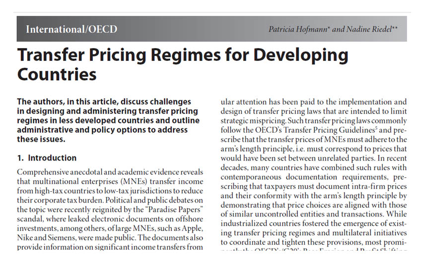 Transfer Pricing Regimes for Developing Countries